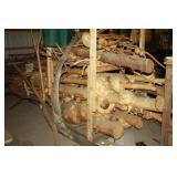 Rack full of logs and sticks with Burls
