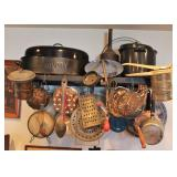 Hanging Dish Rack with Antique Utensils