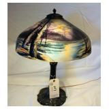 Lead Lamp with painted shade
