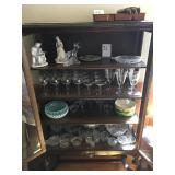 Contents of cabinet including stemware and misc