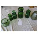 Green Glassware and cannister set