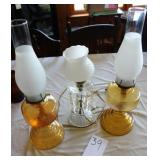 Ornate Oil Lamps and electric lamp