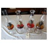 Four Oil Lamps with globes