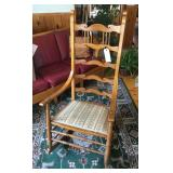 High back wooden rocker, upholstered seat