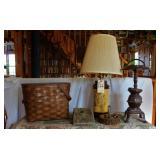 Duck lamp, picnic basket, pedestal ash tray
