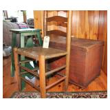 small chest, chair and step stool