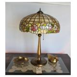 leaded lamp, brass duck and ash tray