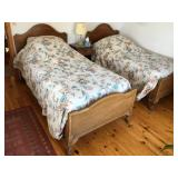 Claw Foot pair of beds and matching stand