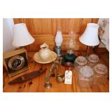 Cannister set, lamps, canoe, brass items