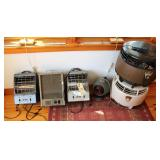 4 electric heaters and 2 air circulators