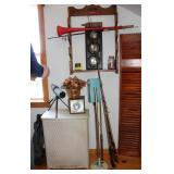 spotting scope and stand, fishing poles