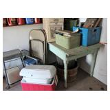 primitive table, coolers and contents