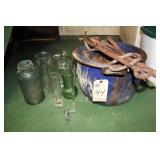 Ceramic kettle, iron tools and glass jars/vases