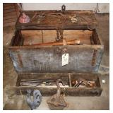 Carpenters Chest with antique tools