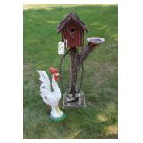Rooster and Bird House Yard Decor