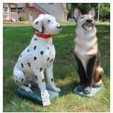 Dalmation and German Shepherd Yard Ornaments