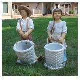 Peasant Girl and Boy Statues