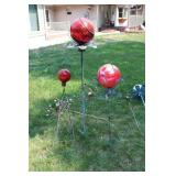 Garden Globes and Metal Peacock yard ornaments