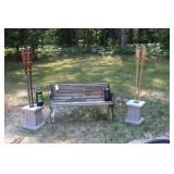 Garden Bench, Planter Bases and Tiki Torches