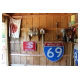 Vintage Service Station items and Road Signs