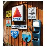 Citgo lighted sign, GoodYear metal sign,Road Signs