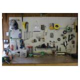 Contents of Peg Board and Top of Work Bench