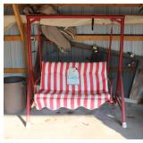 Porch Swing with Coca-Cola cushion