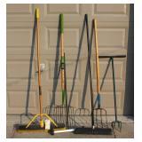 Shop Brooms, forks, tiller, magnet roller