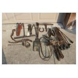 Vintage harness parts, bits, hooks, straps, tapper