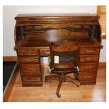 Rolltop Desk and Cane Back Office chair