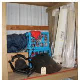 Shelf containing bell, window, misc.