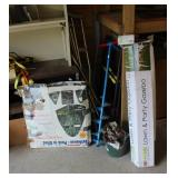 corner with pop up tent, ice auger, lawn gazebo