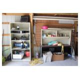 Desk and Shelving Unit with contents