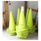 35 bright green parking cones