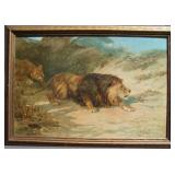 1902 Stalking Lions Lithograph by Haywood Hardy