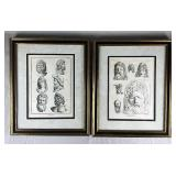 "Pair of Framed 18th C. ""Antiquities"" Face Prints"