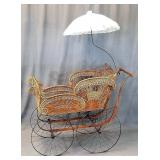 Ornate Early Wicker Baby Buggy Carriage Pram