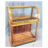 Oak Curved Glass Country Store Cane Display Case