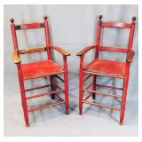 Antique Primitive Billiards Chairs, Old Red Paint