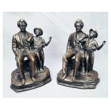 Mark Twain & Tom Sawyer Figural Bronze Bookends