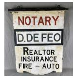 Vintage Realtor, Notary, & Insurance Agent Sign