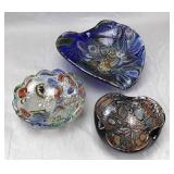 3 Midcentury Murano Vintage Glass Bowls