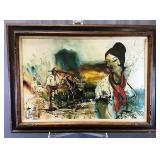 Midcentury Framed Signed Oil on Canvas - Mexico