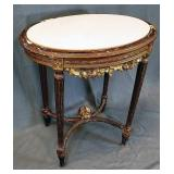 French Oval Marble Top Carved Gilt Wood Table
