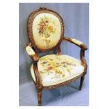 Antique French Armchair in Aubusson Upholstery