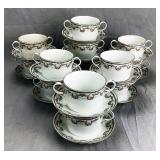 13 Jean Pouyat Limoges Bouillon Cups with Saucers