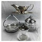 4 Antique Sterling Silver and Glass Serving Pieces