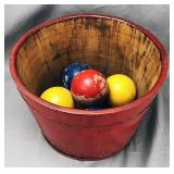 Red Painted Staved Half Barrel, Croquet Balls