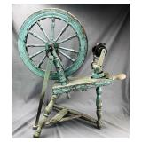 Primitive Antique Spinning Wheel, Old Blue Paint