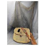 Vintage Wicker Fishing Creel and Net